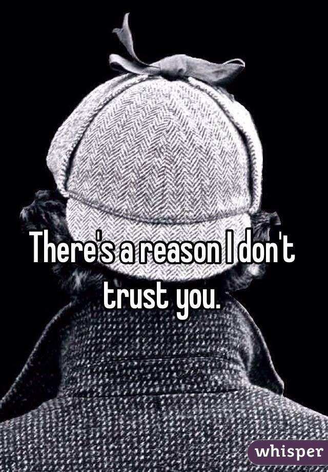 There's a reason I don't trust you.