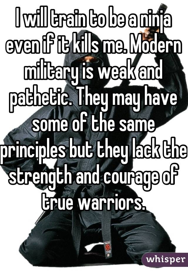 I will train to be a ninja even if it kills me. Modern military is weak and pathetic. They may have some of the same principles but they lack the strength and courage of true warriors.