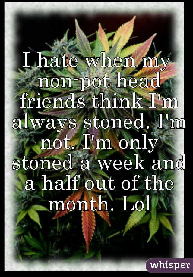 I hate when my non-pot head friends think I'm always stoned. I'm not. I'm only stoned a week and a half out of the month. Lol