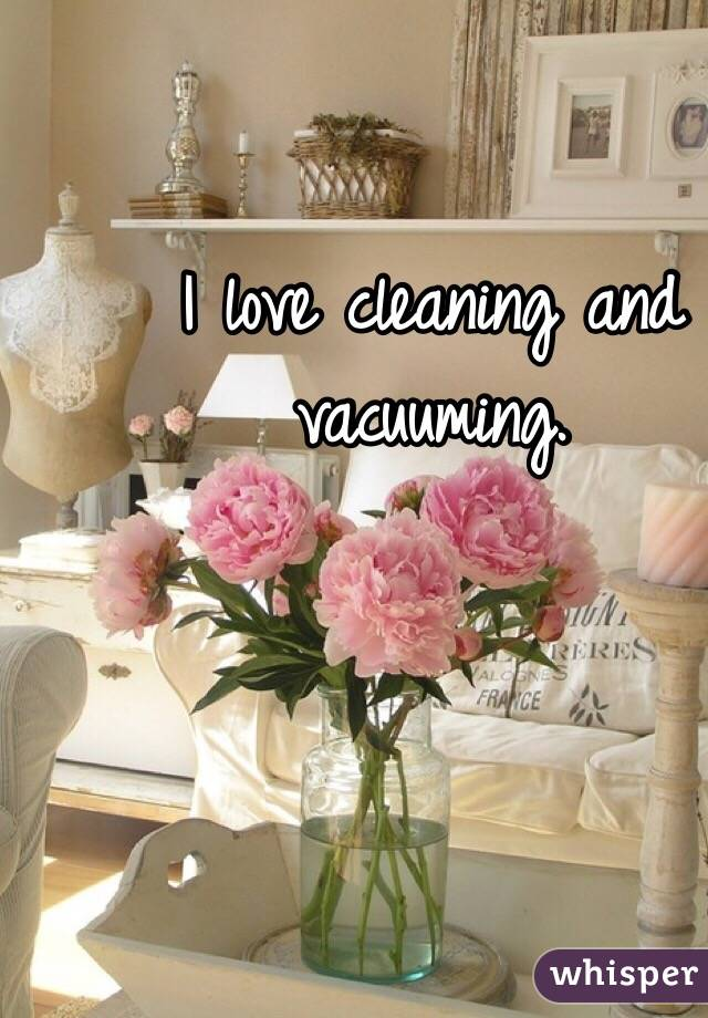 I love cleaning and vacuuming.