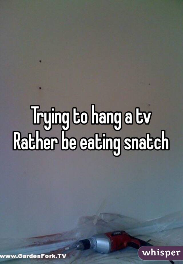 Trying to hang a tv  Rather be eating snatch