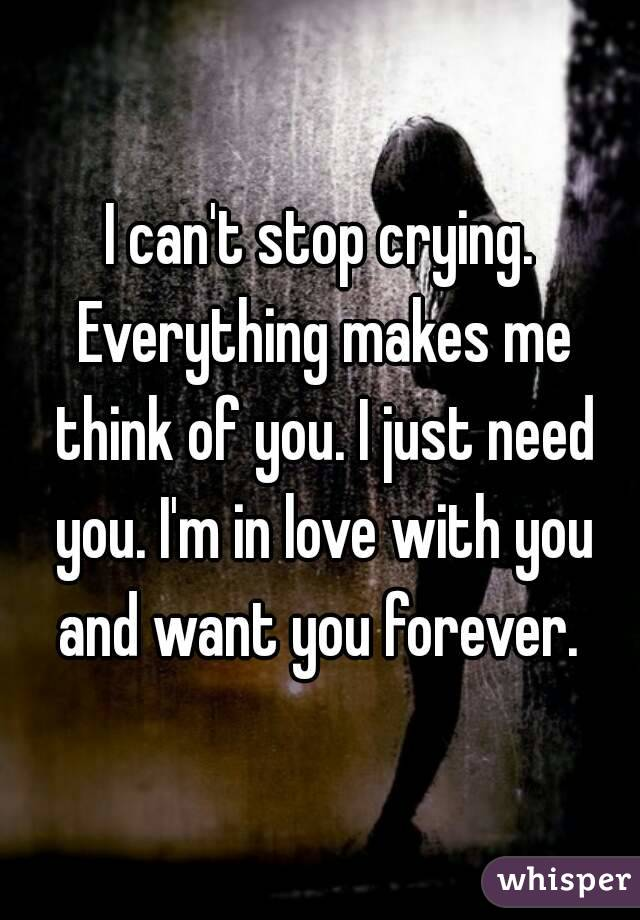 I can't stop crying. Everything makes me think of you. I just need you. I'm in love with you and want you forever.
