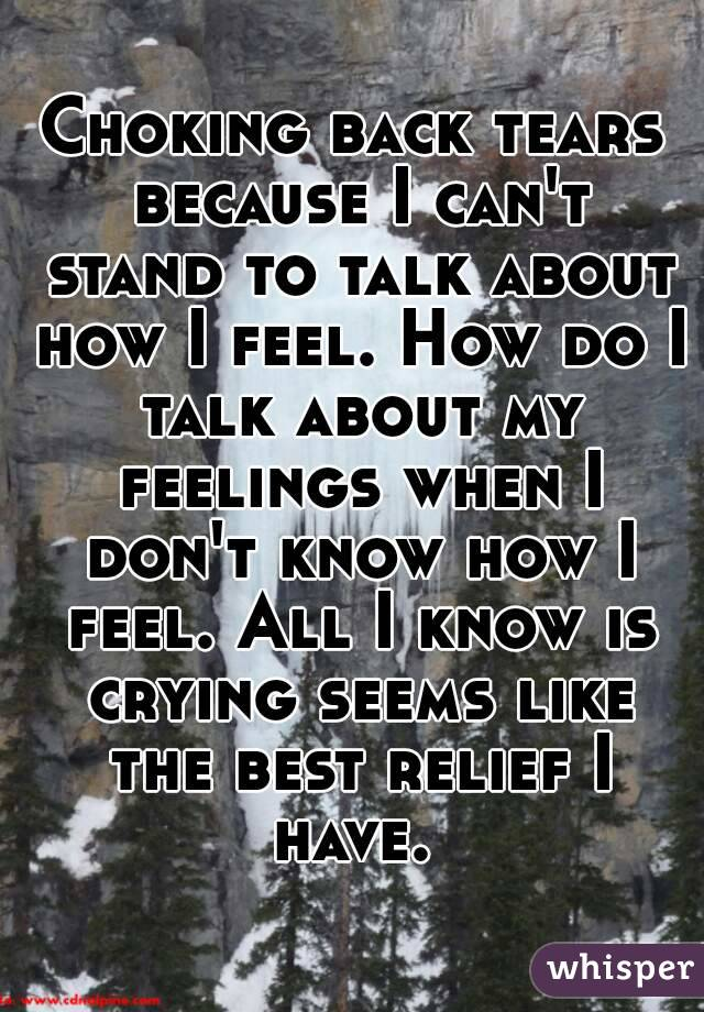 Choking back tears because I can't stand to talk about how I feel. How do I talk about my feelings when I don't know how I feel. All I know is crying seems like the best relief I have.