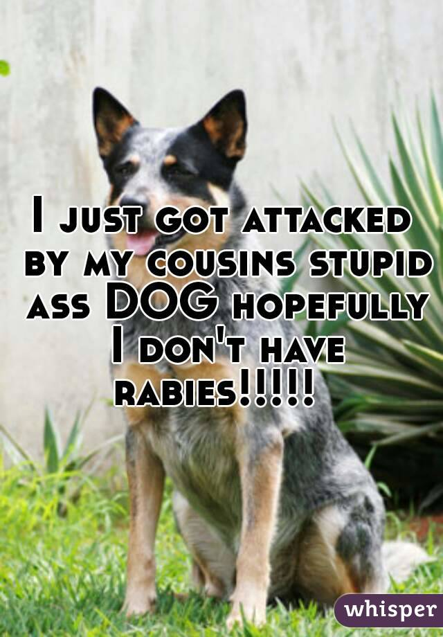 I just got attacked by my cousins stupid ass DOG hopefully I don't have rabies!!!!!