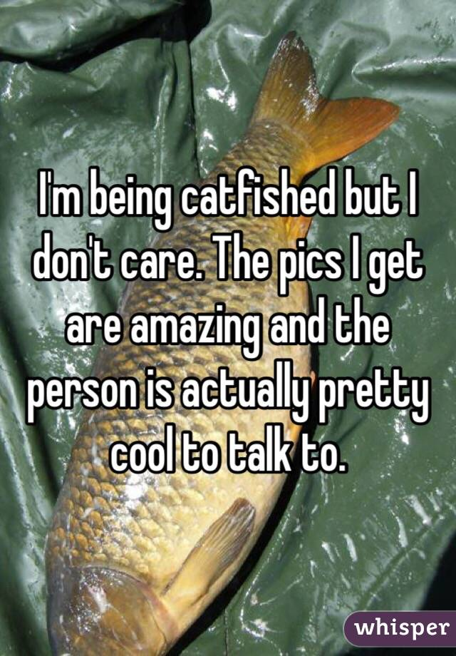 I'm being catfished but I don't care. The pics I get are amazing and the person is actually pretty cool to talk to.