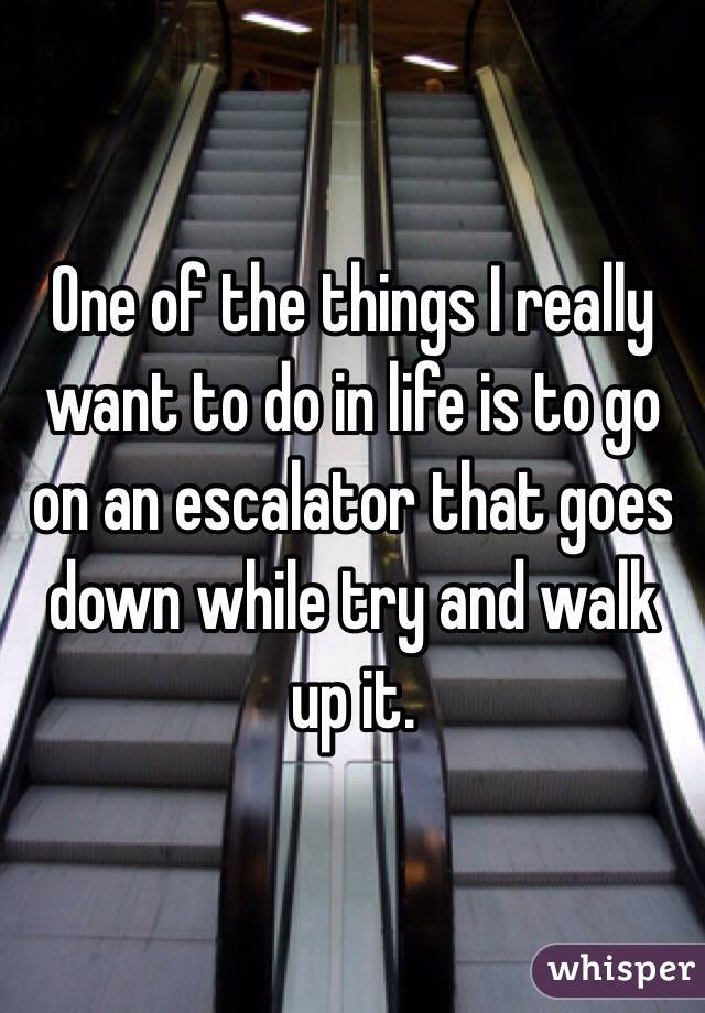 One of the things I really want to do in life is to go on an escalator that goes down while try and walk up it.