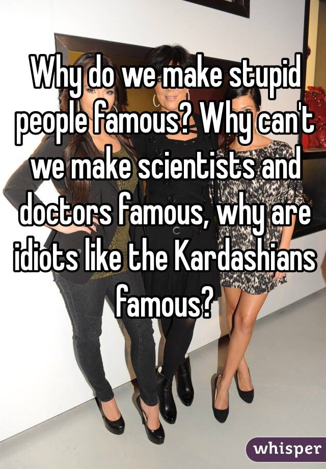 Why do we make stupid people famous? Why can't we make scientists and doctors famous, why are idiots like the Kardashians famous?