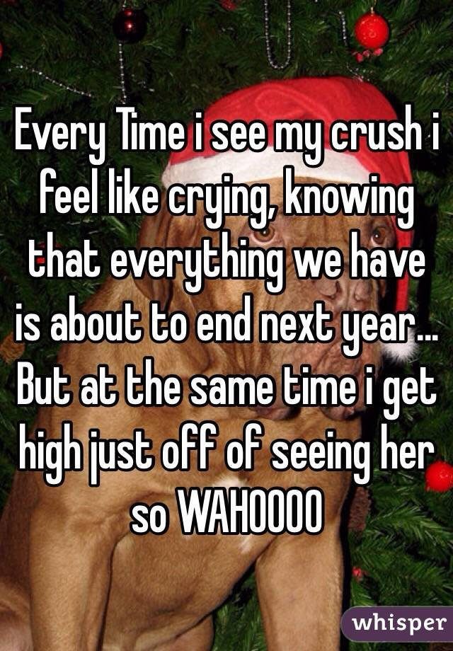 Every Time i see my crush i feel like crying, knowing that everything we have is about to end next year... But at the same time i get high just off of seeing her so WAHOOOO