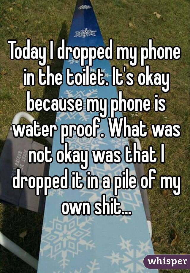 Today I dropped my phone in the toilet. It's okay because my phone is water proof. What was not okay was that I dropped it in a pile of my own shit...