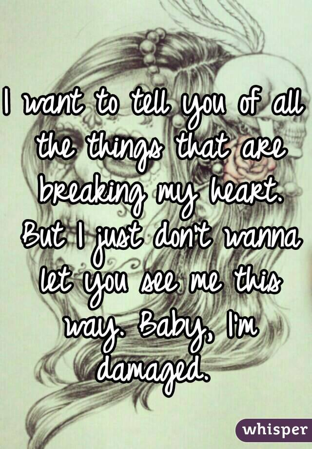I want to tell you of all the things that are breaking my heart. But I just don't wanna let you see me this way. Baby, I'm damaged.