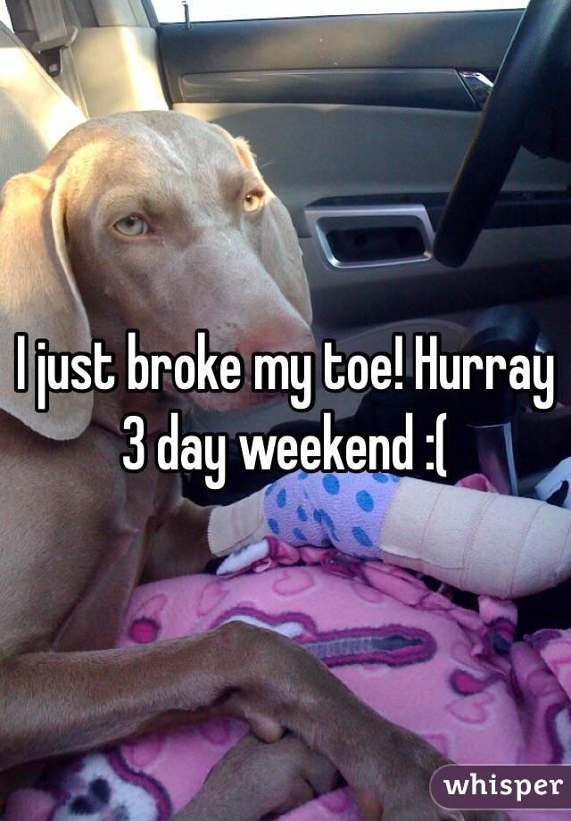 I just broke my toe! Hurray 3 day weekend :(