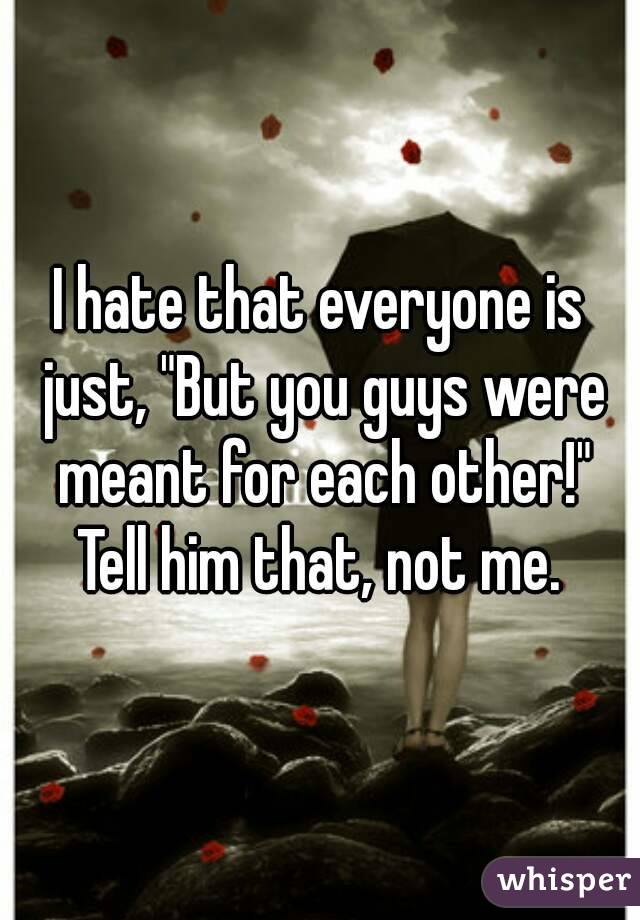 "I hate that everyone is just, ""But you guys were meant for each other!"" Tell him that, not me."