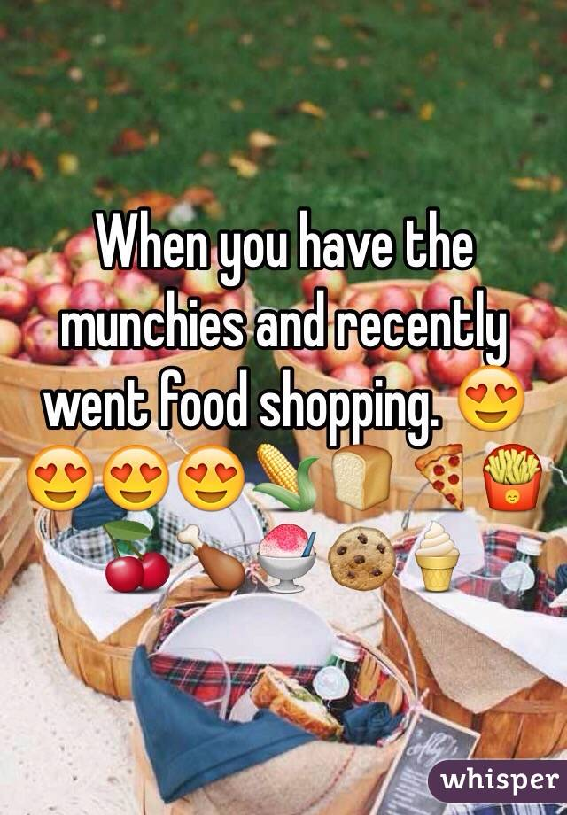 When you have the munchies and recently went food shopping. 😍😍😍😍🌽🍞🍕🍟🍒🍗🍧🍪🍦