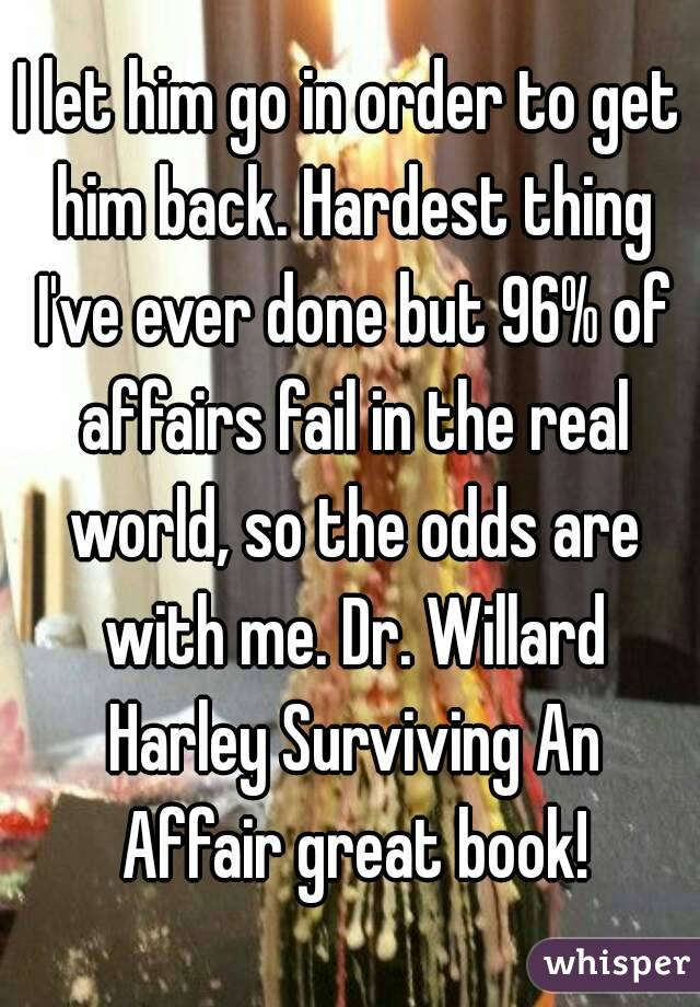 I let him go in order to get him back. Hardest thing I've ever done but 96% of affairs fail in the real world, so the odds are with me. Dr. Willard Harley Surviving An Affair great book!