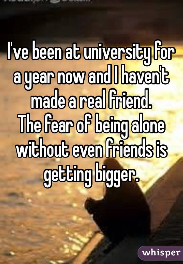 I've been at university for a year now and I haven't made a real friend.  The fear of being alone without even friends is getting bigger.