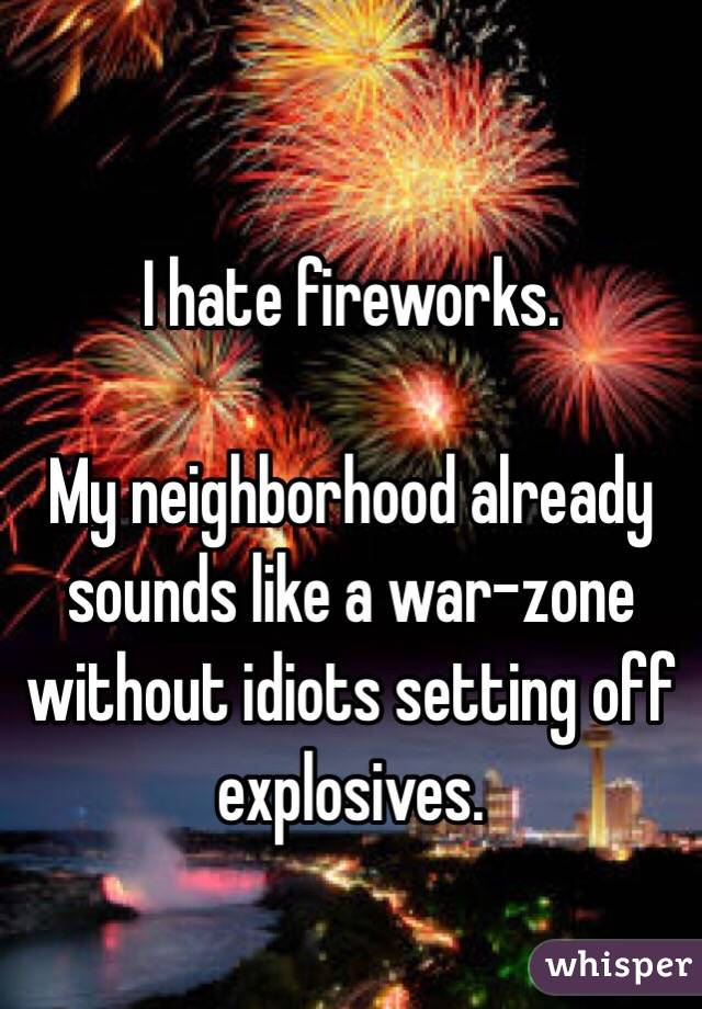 I hate fireworks.   My neighborhood already sounds like a war-zone without idiots setting off explosives.