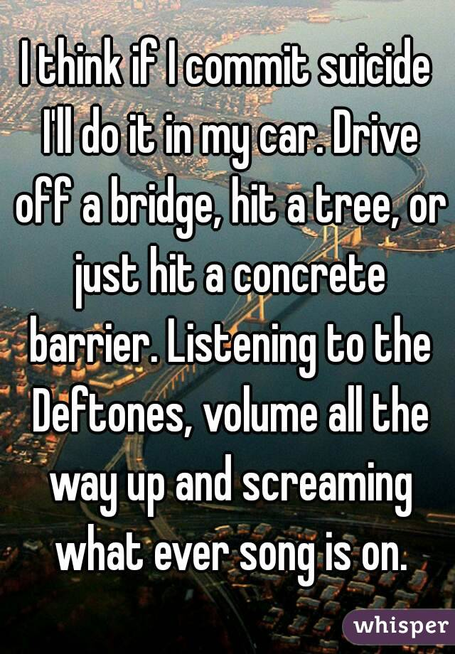 I think if I commit suicide I'll do it in my car. Drive off a bridge, hit a tree, or just hit a concrete barrier. Listening to the Deftones, volume all the way up and screaming what ever song is on.