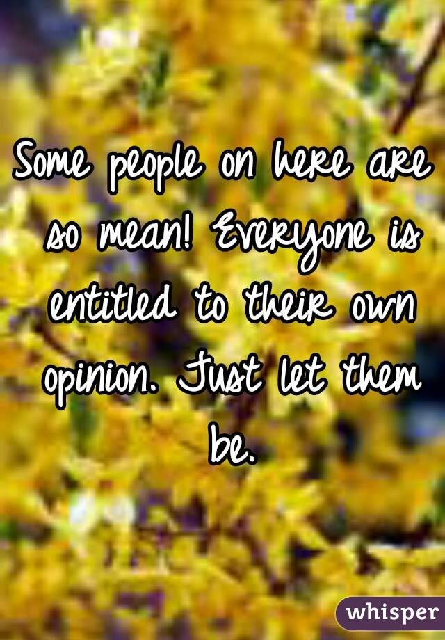 Some people on here are so mean! Everyone is entitled to their own opinion. Just let them be.