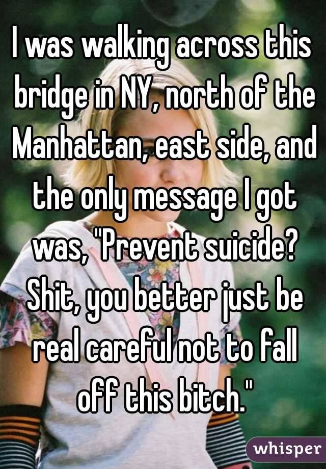 "I was walking across this bridge in NY, north of the Manhattan, east side, and the only message I got was, ""Prevent suicide? Shit, you better just be real careful not to fall off this bitch."""
