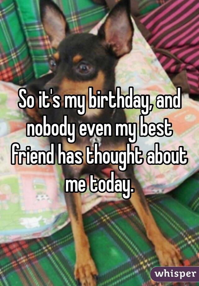 So it's my birthday, and nobody even my best friend has thought about me today.
