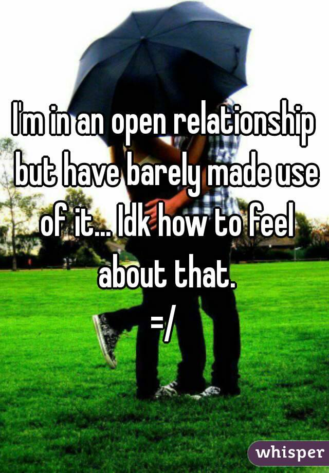 I'm in an open relationship but have barely made use of it... Idk how to feel about that. =/
