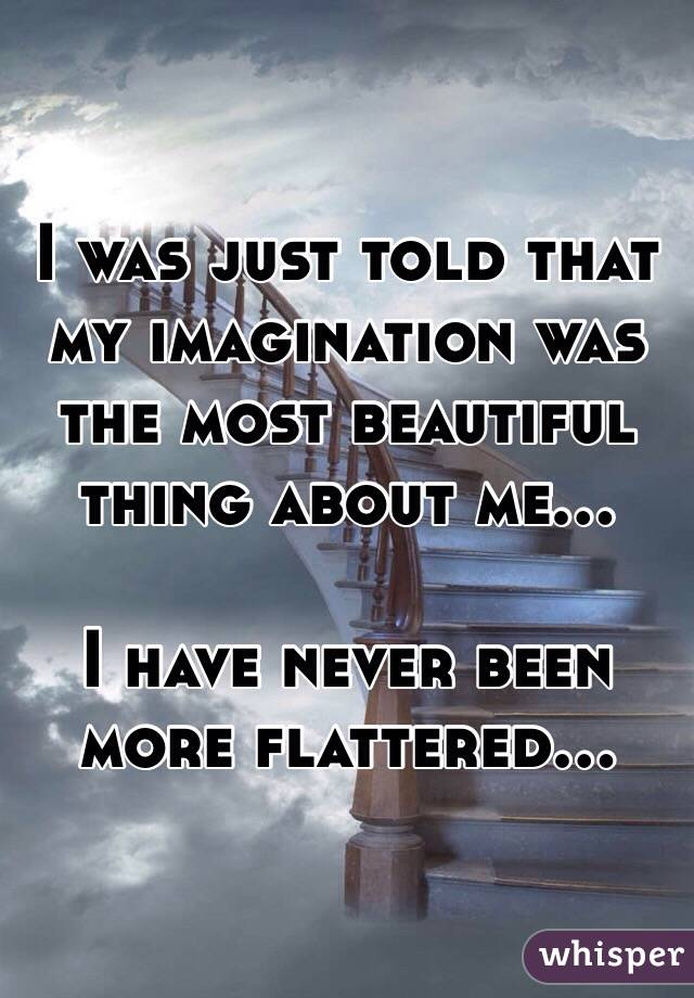 I was just told that my imagination was the most beautiful thing about me...  I have never been more flattered...