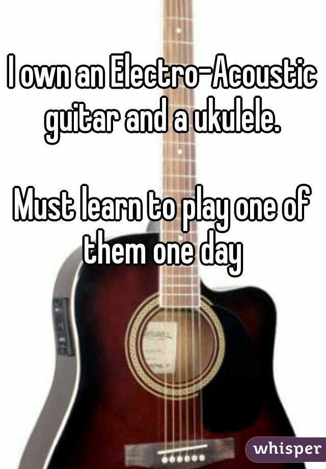 I own an Electro-Acoustic guitar and a ukulele.   Must learn to play one of them one day