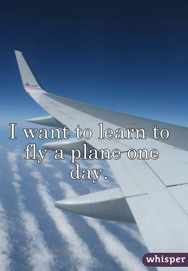 I want to learn to fly a plane one day.