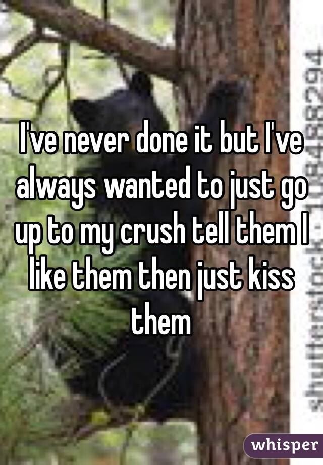 I've never done it but I've always wanted to just go up to my crush tell them I like them then just kiss them