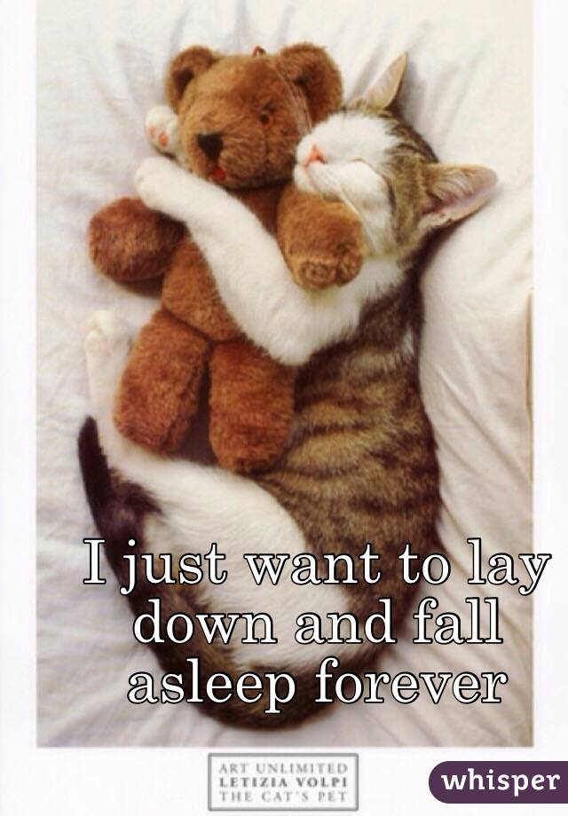 I just want to lay down and fall asleep forever