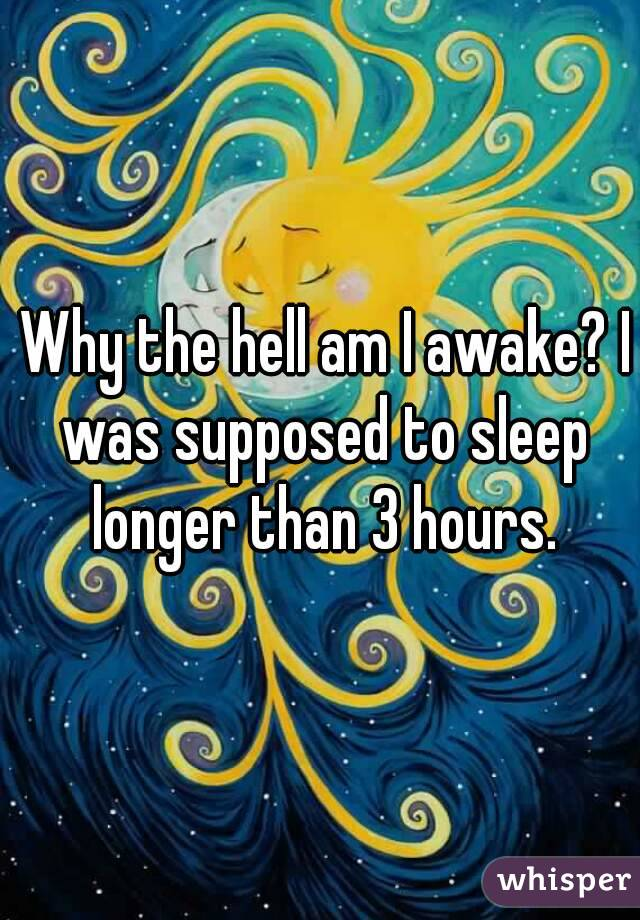 Why the hell am I awake? I was supposed to sleep longer than 3 hours.