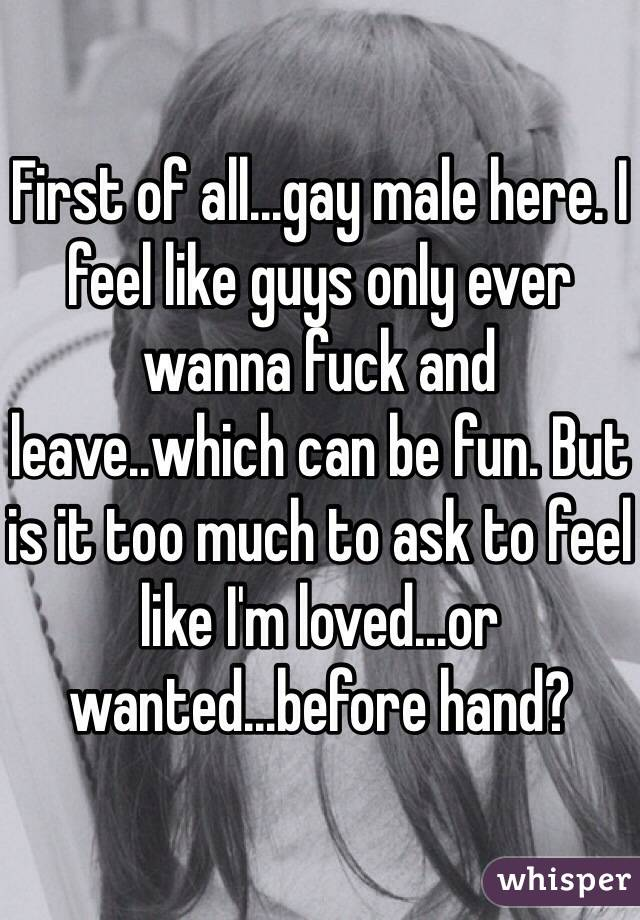 First of all...gay male here. I feel like guys only ever wanna fuck and leave..which can be fun. But is it too much to ask to feel like I'm loved...or wanted...before hand?