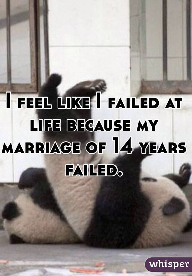 I feel like I failed at life because my marriage of 14 years failed.