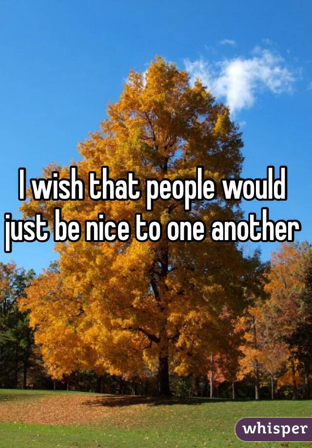 I wish that people would just be nice to one another