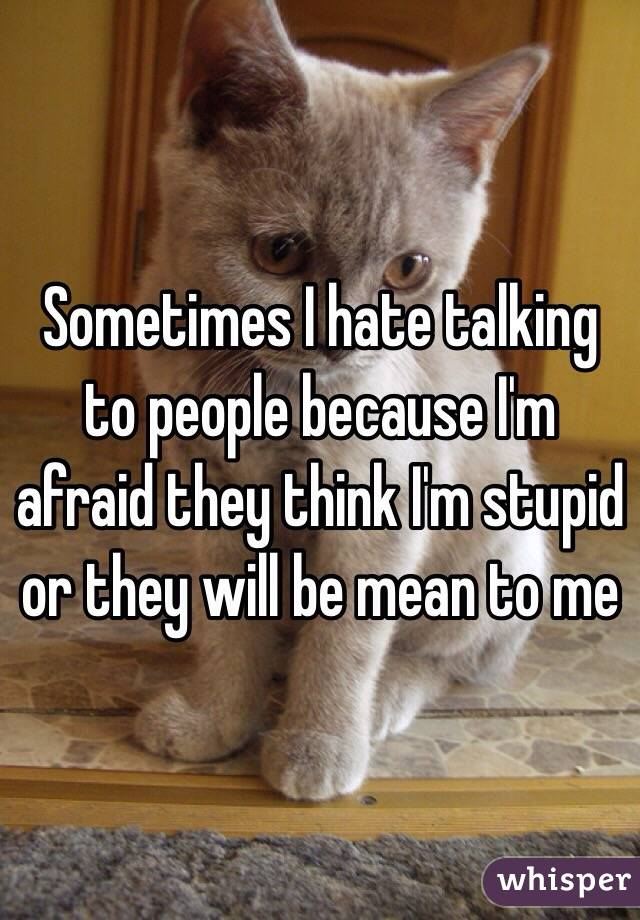 Sometimes I hate talking to people because I'm afraid they think I'm stupid or they will be mean to me