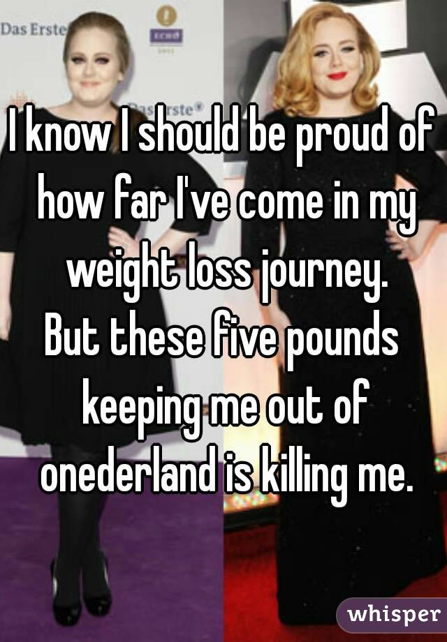 I know I should be proud of how far I've come in my weight loss journey. But these five pounds keeping me out of onederland is killing me.