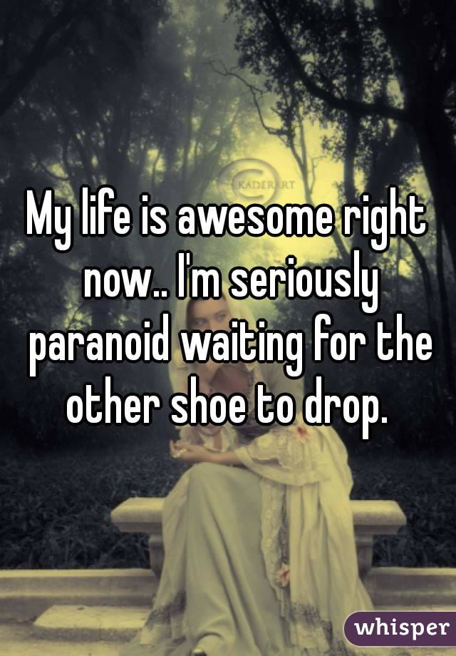 My life is awesome right now.. I'm seriously paranoid waiting for the other shoe to drop.
