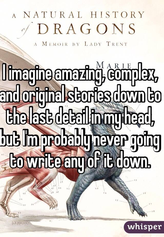 I imagine amazing, complex, and original stories down to the last detail in my head, but I'm probably never going to write any of it down.