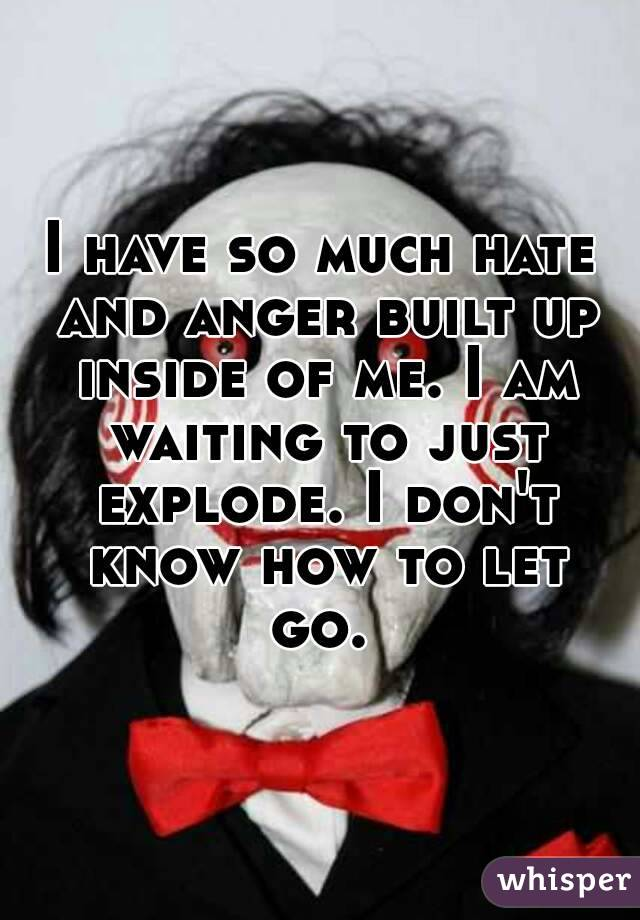 I have so much hate and anger built up inside of me. I am waiting to just explode. I don't know how to let go.