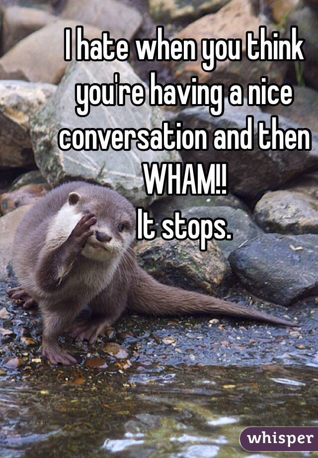 I hate when you think you're having a nice conversation and then WHAM!!  It stops.