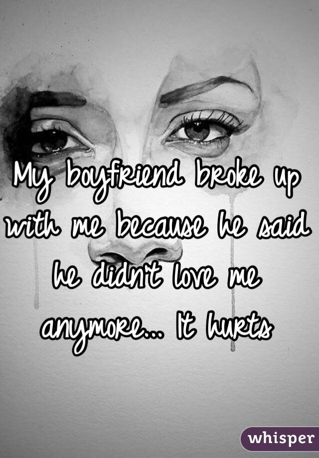 My boyfriend broke up with me because he said he didn't love me anymore... It hurts