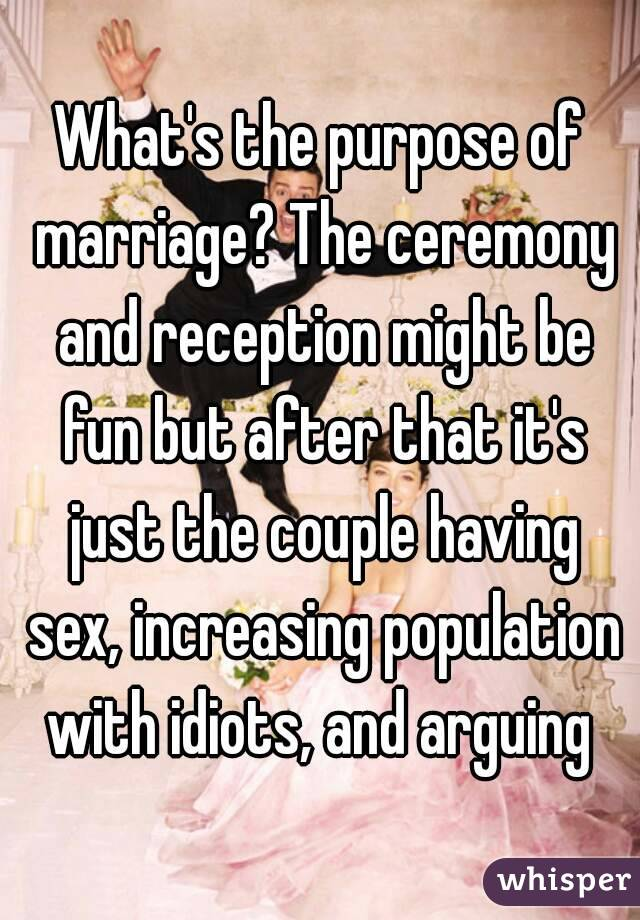 What's the purpose of marriage? The ceremony and reception might be fun but after that it's just the couple having sex, increasing population with idiots, and arguing