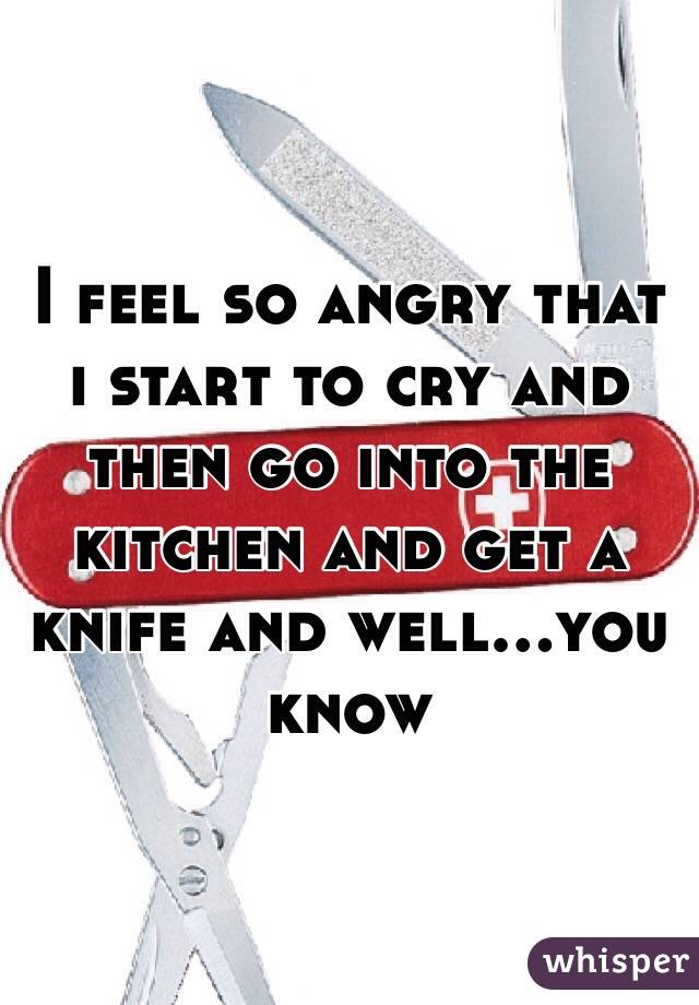 I feel so angry that i start to cry and then go into the kitchen and get a knife and well...you know