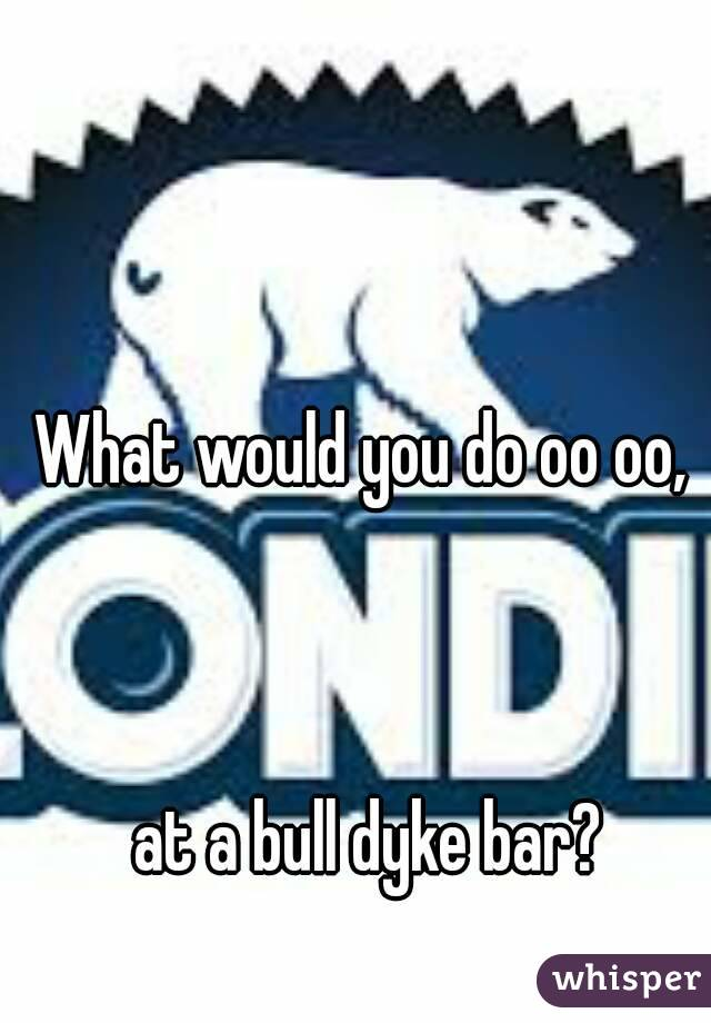 What would you do oo oo,     at a bull dyke bar?