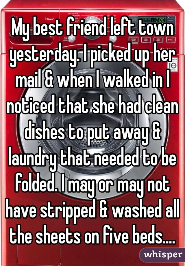 My best friend left town yesterday. I picked up her mail & when I walked in I noticed that she had clean dishes to put away & laundry that needed to be folded. I may or may not have stripped & washed all the sheets on five beds....