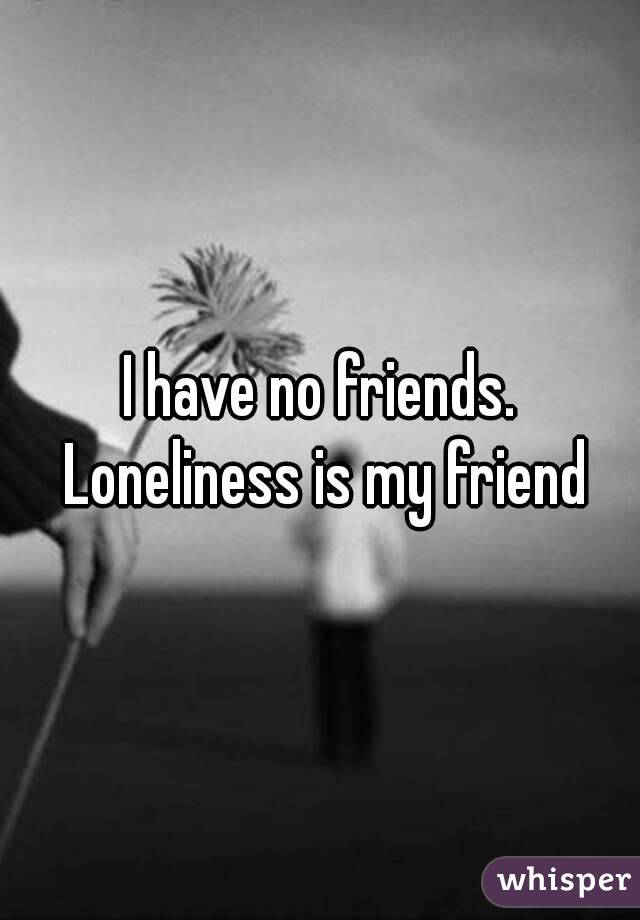 I have no friends. Loneliness is my friend