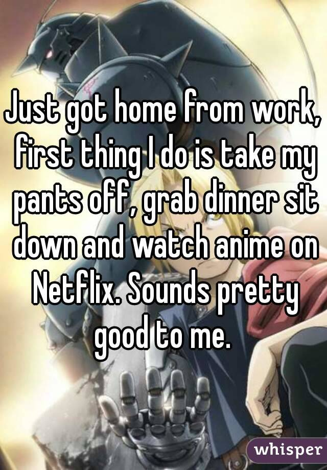 Just got home from work, first thing I do is take my pants off, grab dinner sit down and watch anime on Netflix. Sounds pretty good to me.