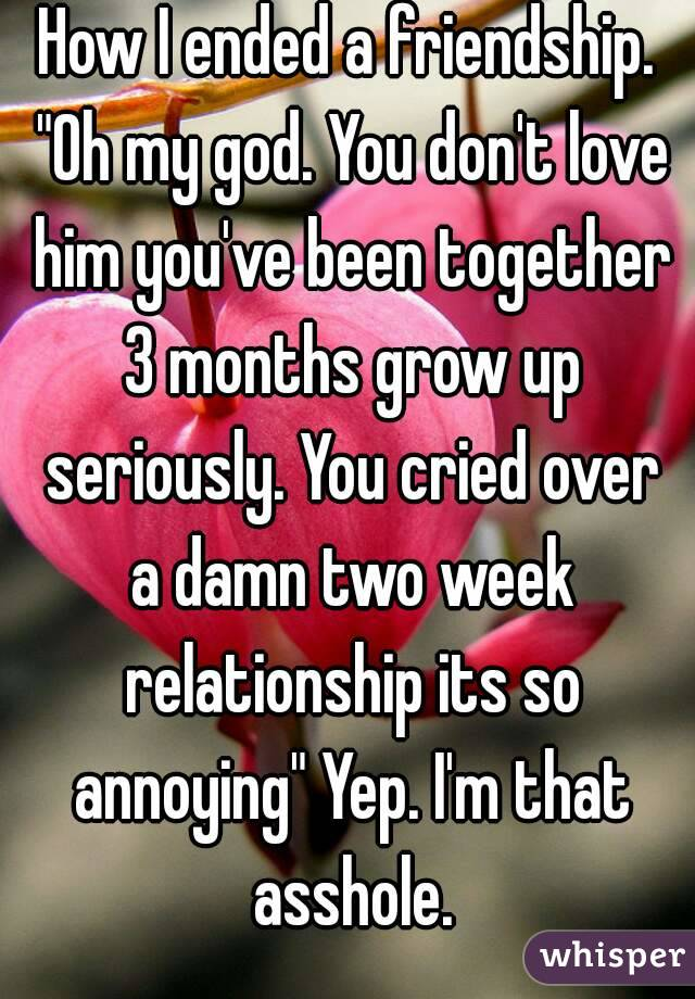 "How I ended a friendship. ""Oh my god. You don't love him you've been together 3 months grow up seriously. You cried over a damn two week relationship its so annoying"" Yep. I'm that asshole."
