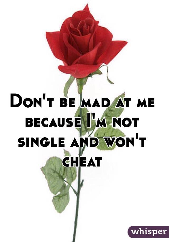 Don't be mad at me because I'm not single and won't cheat