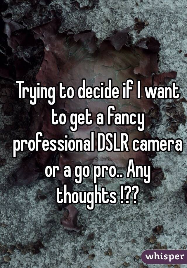Trying to decide if I want to get a fancy professional DSLR camera or a go pro.. Any thoughts !??
